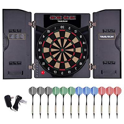 WIN.MAX Electronic Soft Tip Dartboard Set with Cabinet, 12 D