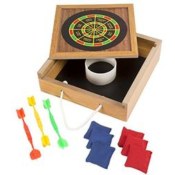 Hey! Play! Tabletop Magnetic Dart and Beanbag Toss Set – W
