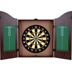 Wood Dartboard Cabinet Set Game Play Hang Up Wall Sport Case